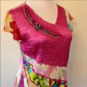Springtime short sleeve multi colors blouse